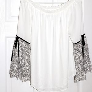 WHBM on/off shoulder lace bell-sleeve blouse